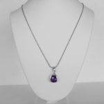 white gold amethyst pendant on necklace chain