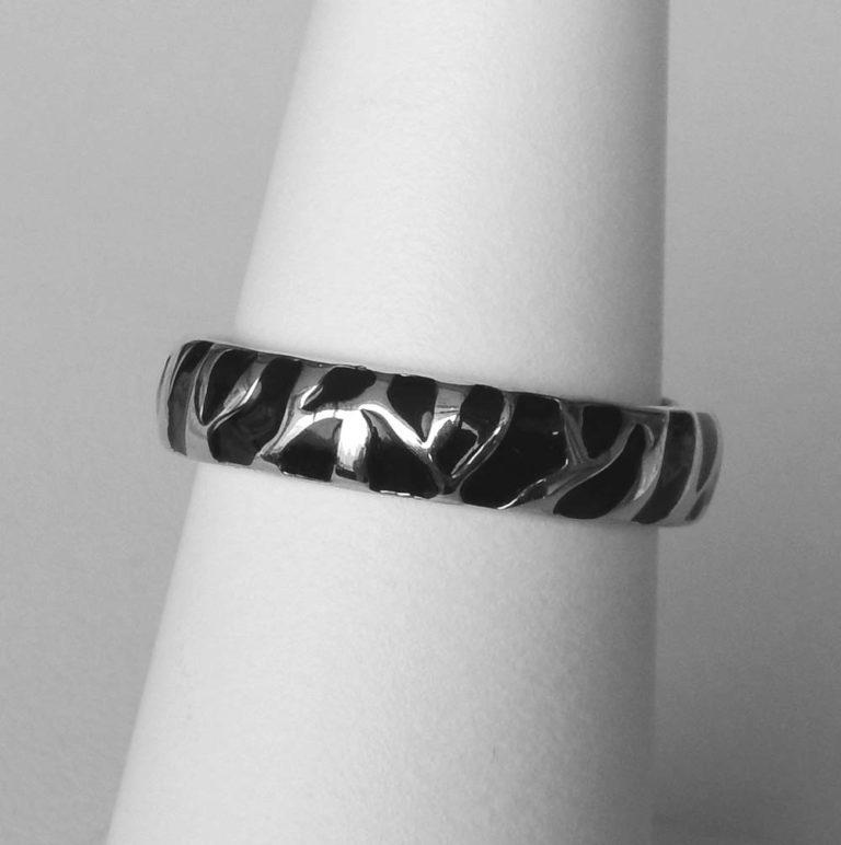 sterling silver black enamel animal print ring