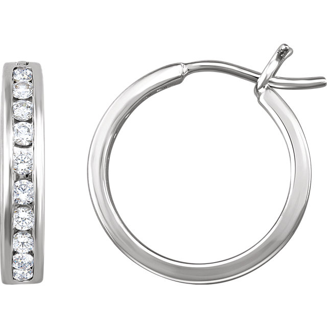 white gold channel set diamond hoop earrings