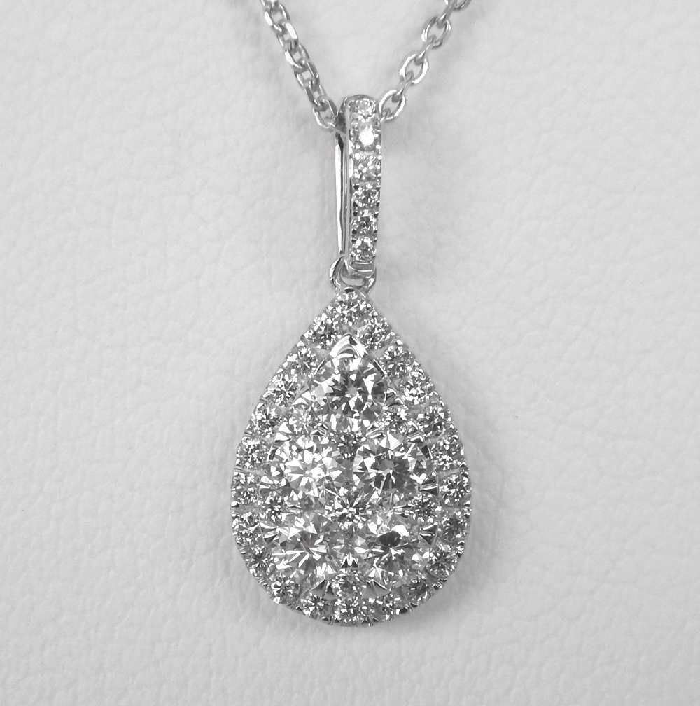 white gold diamond cluster pear shaped pendant