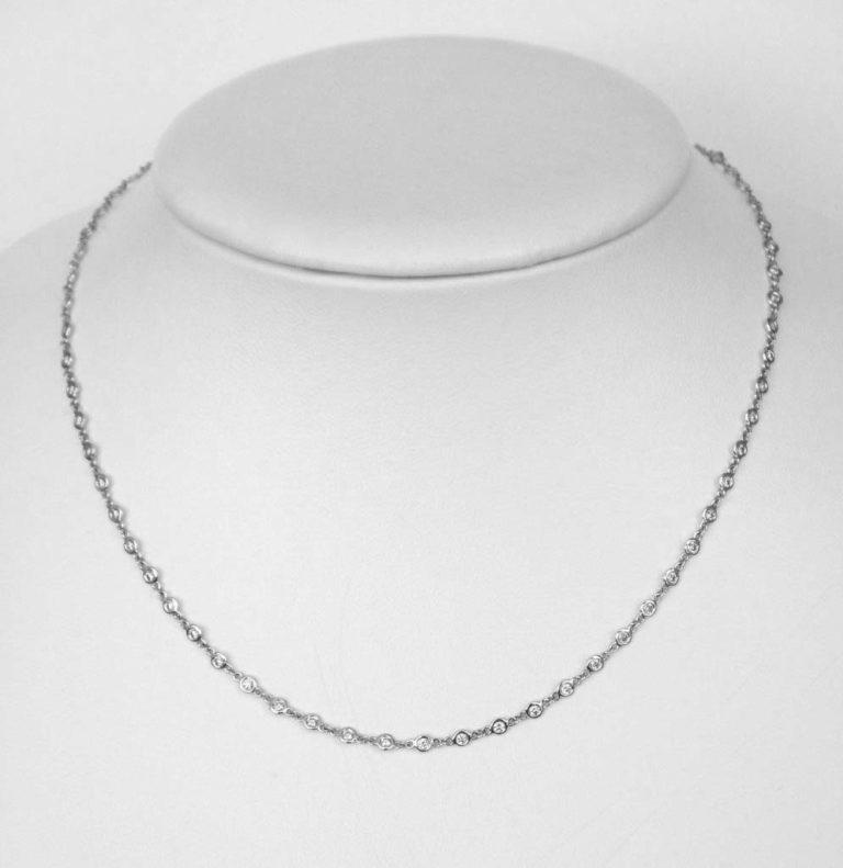 white gold diamond station necklace