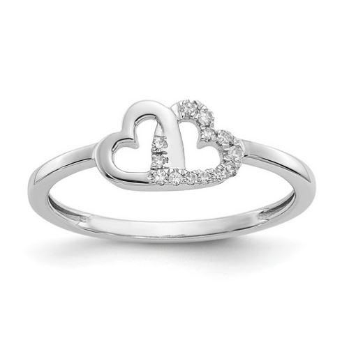 white gold double heart diamond ring