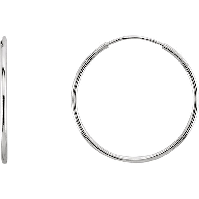 white gold endless hoop earring