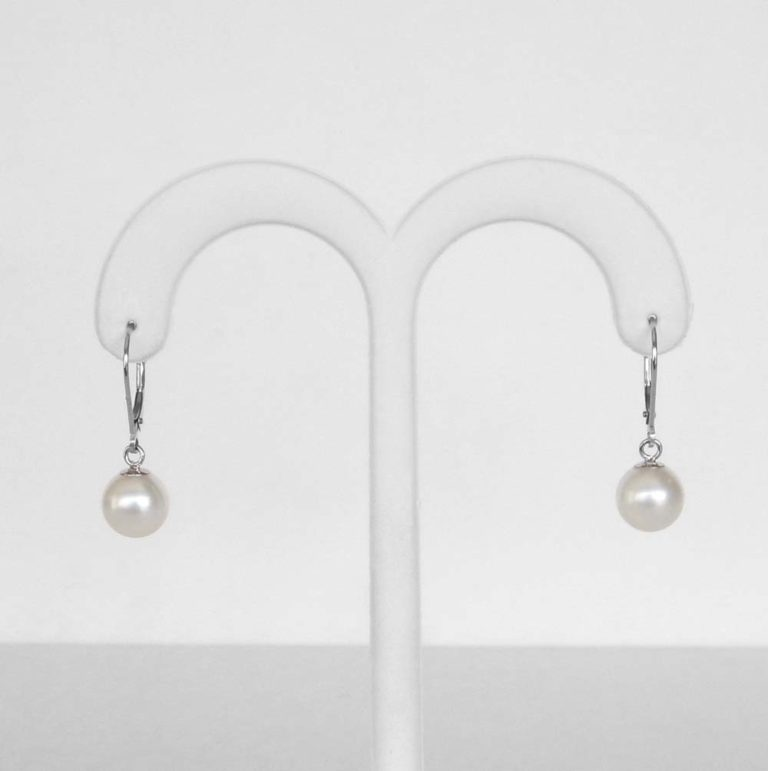 white gold freshwater pearl dangle earrings