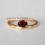 yellow gold garnet and diamond ring