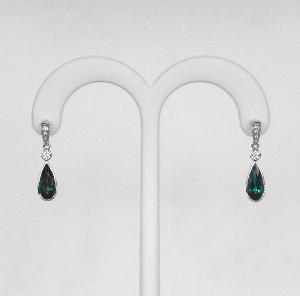 white gold green tourmaline and diamond earrings