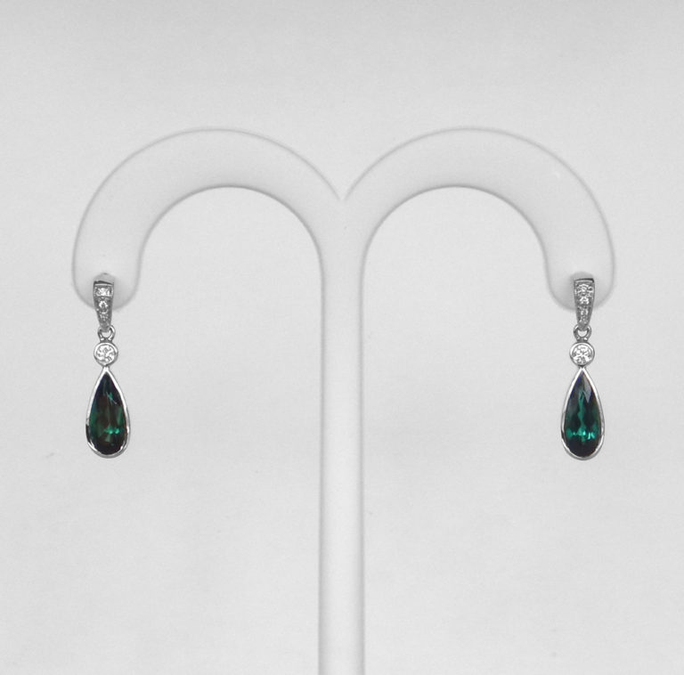 green tourmaline dangle earrings