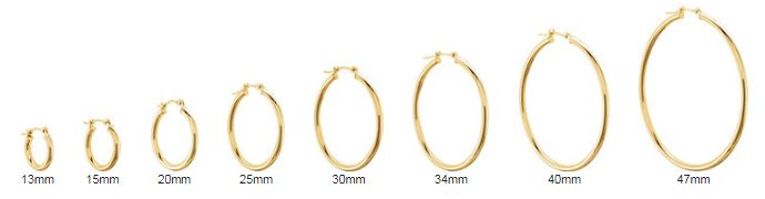 yellow gold hoop earring sizes