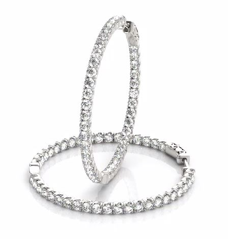 white gold inside outside diamond hoop earrings