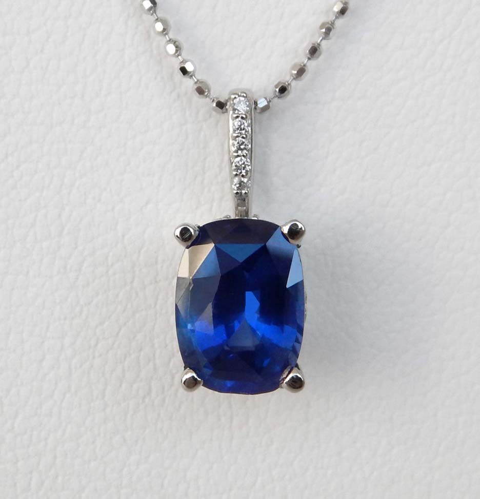 white gold large sapphire pendant with diamond bail