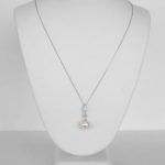 white gold pearl and diamond pendant on chain