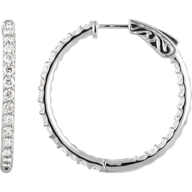 white gold prong set diamond hoop earrings
