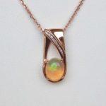 rose gold opal and diamond pendant