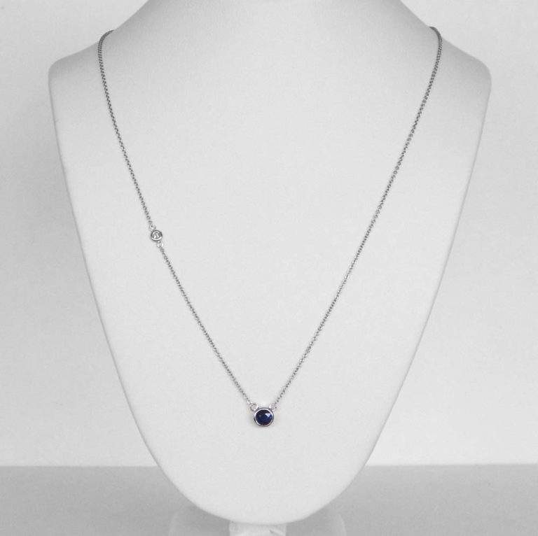 white gold sapphire and diamond station necklace