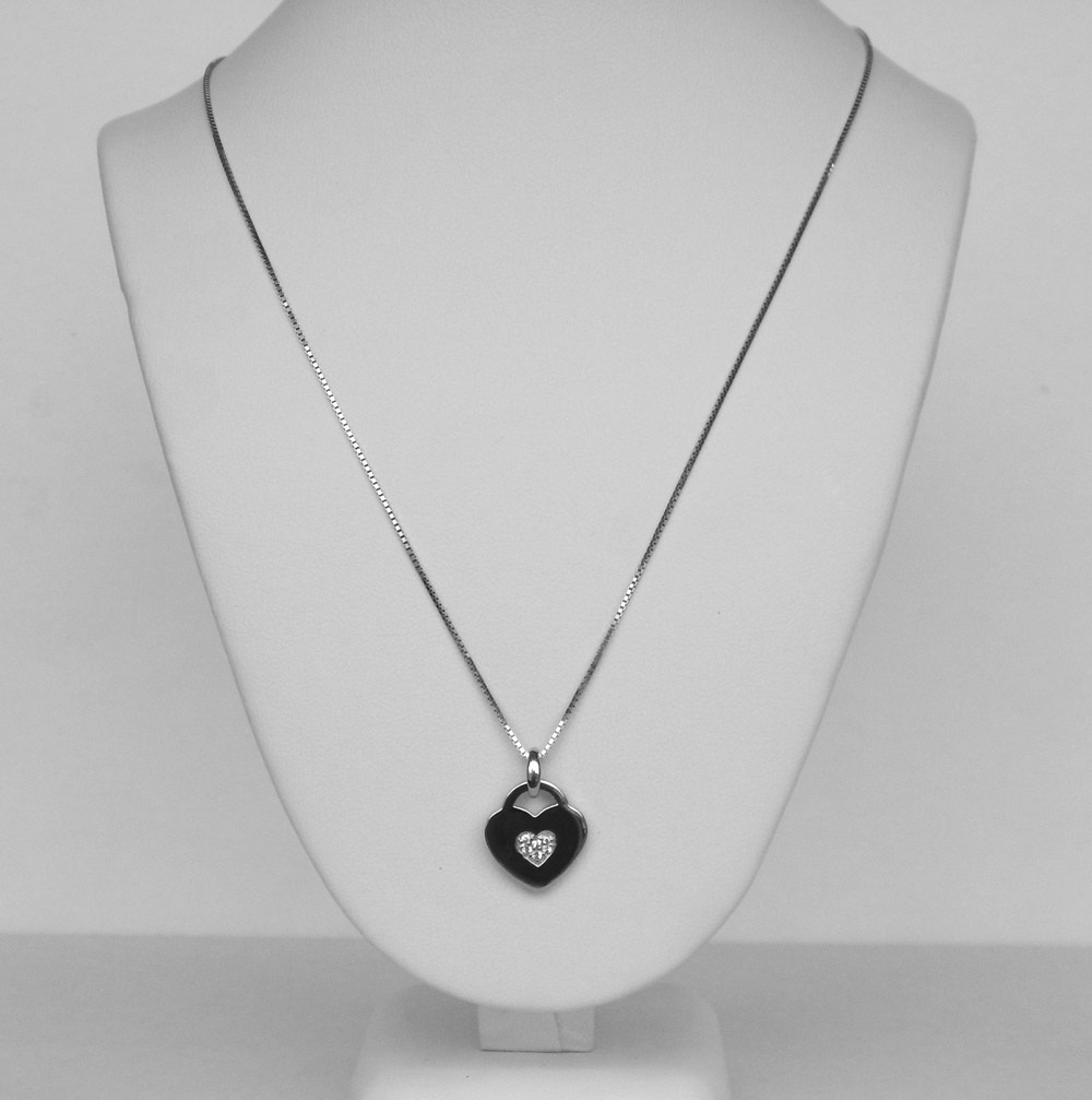 sterling silver white sapphire heart necklace