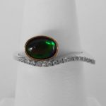 two tone gold ammolite and diamond ring