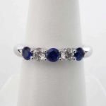 white gold large sapphire and diamond band