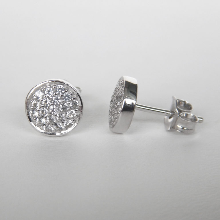 white sapphire cluster studs