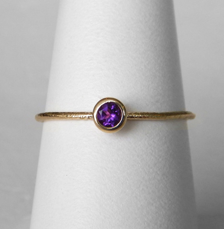 yellow gold amethyst stacking ring
