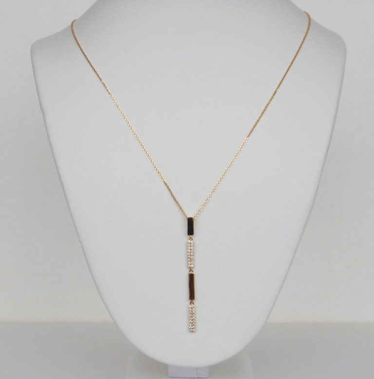 yellow gold vertical bar diamond necklace