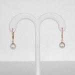 yellow gold freshwater pearl dangle earrings