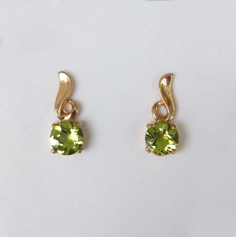 yellow gold peridot earrings
