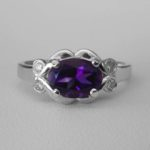 white gold oval amethyst and diamond ring