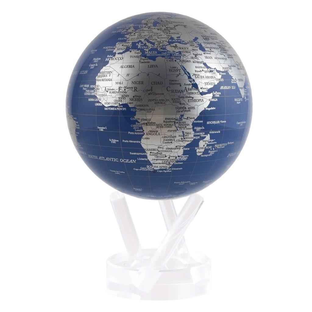 blue and silver MOVA rotating globe