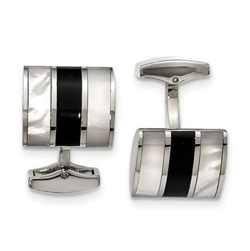 stainless steel onyx and mother of pearl cufflinks