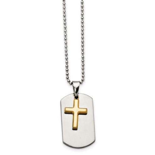 stainless steel dog tag and yellow ip plated cross necklace