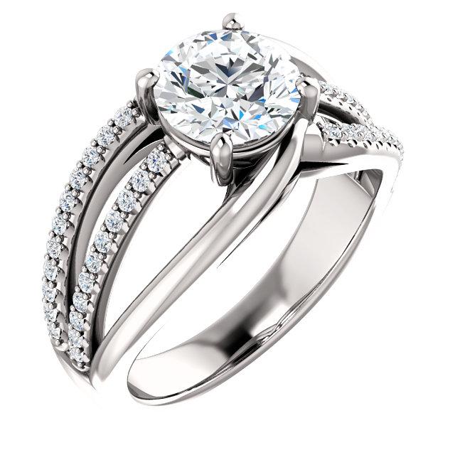 unique diamond accented engagement ring