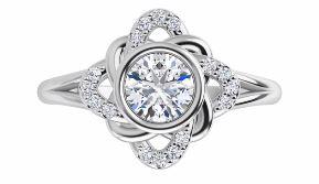 diamond accented bezel set diamond ring
