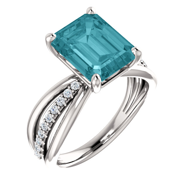blue topaz diamond accented ring