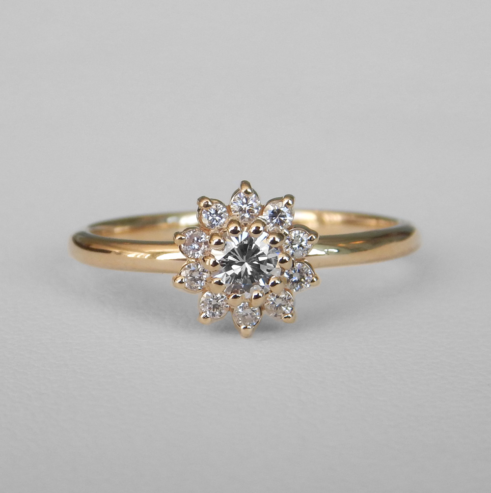 yellow gold floral inspired diamond engagement ring