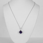white gold amethyst and diamond pendant on chain