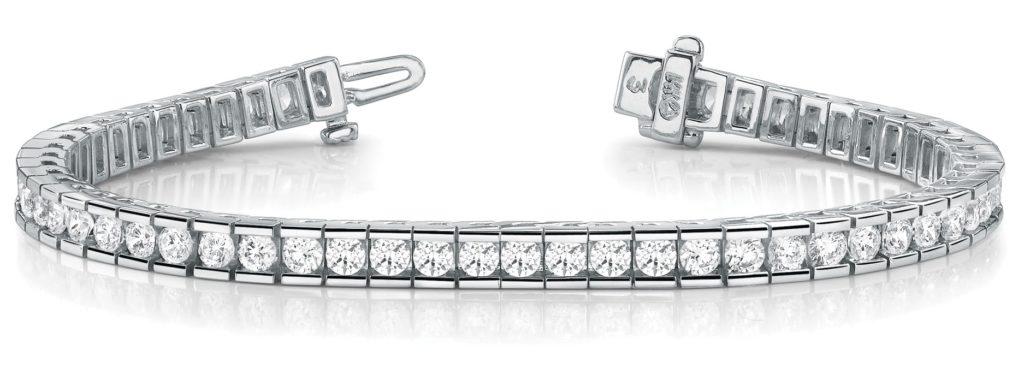 channel set diamond tennis bracelet