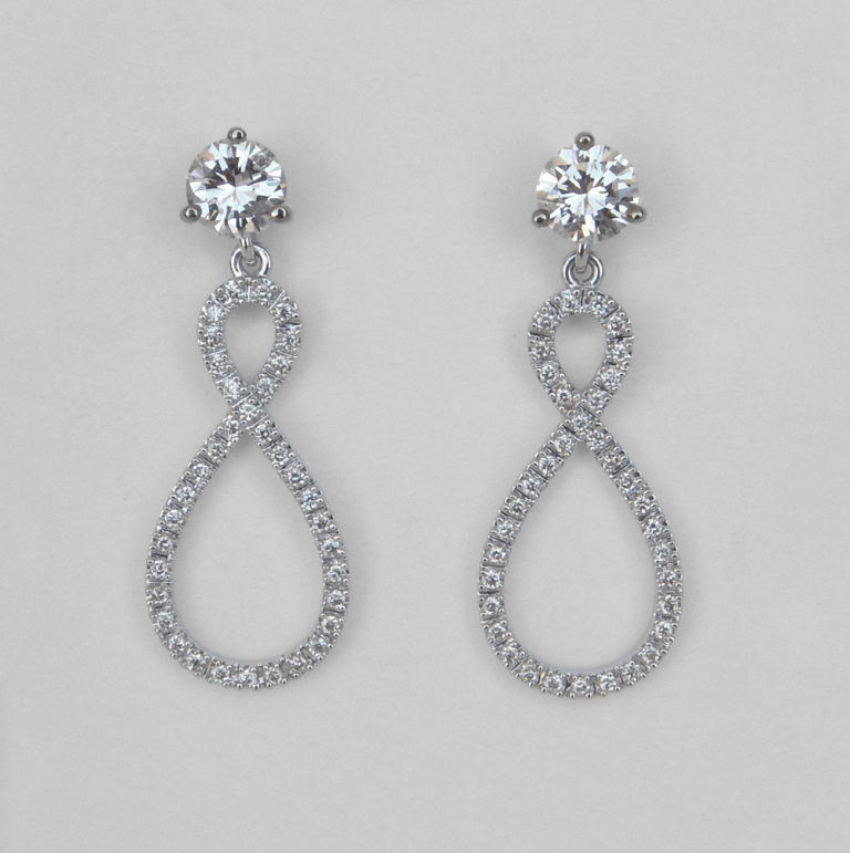 white gold diamond dangle earring jackets
