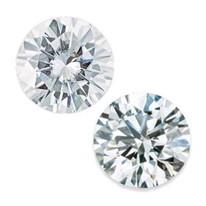 round moissanite and round diamond