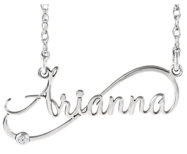infinity inspired diamond name necklace