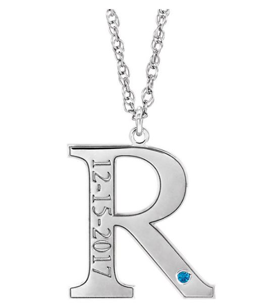 initial necklace with birthday and birthstone