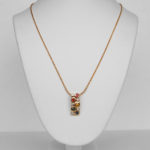 yellow gold multicolored sapphire and diamond necklace