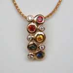 yellow gold multicolored sapphire and diamond pendant