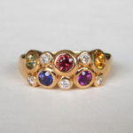 yellow gold multicolored sapphire and diamond ring