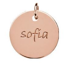 disc pendant with personalized name in the center
