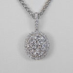 white gold oval diamond cluster pendant