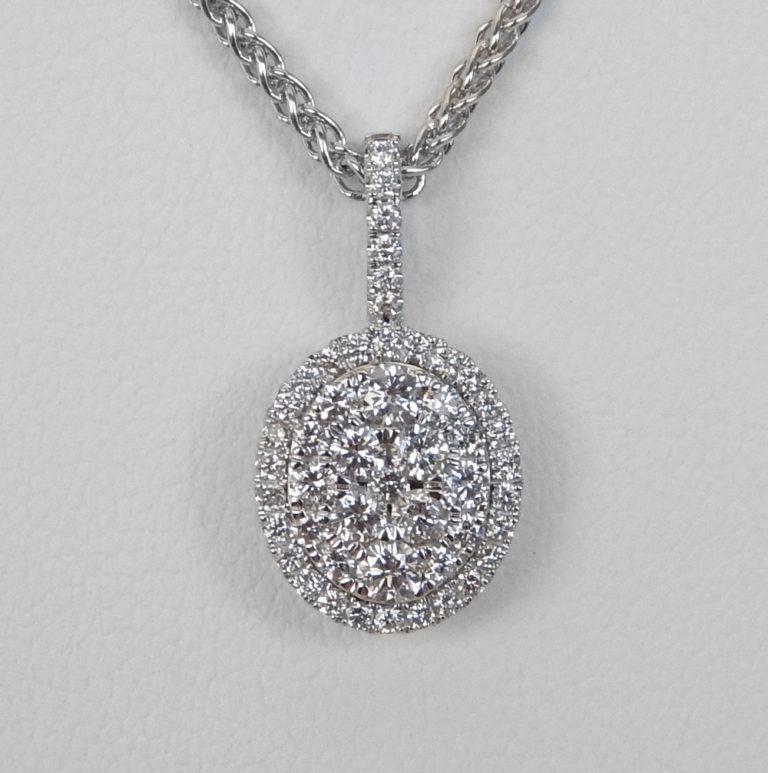 white gold oval diamond cluster pendant