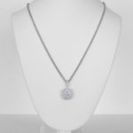 white gold oval shaped diamond cluster pendant on chain