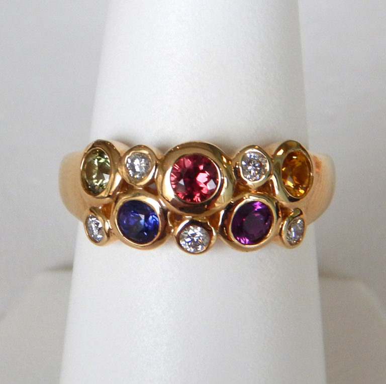 yellow gold multicolored sapphire and diamond cluster ring