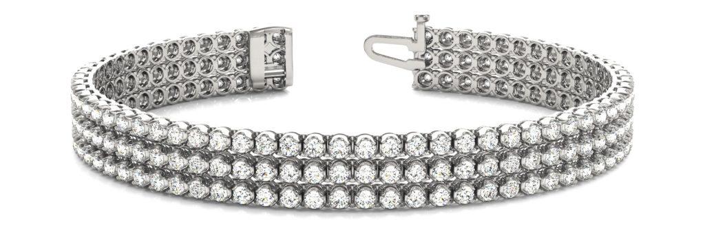 three row diamond tennis bracelet