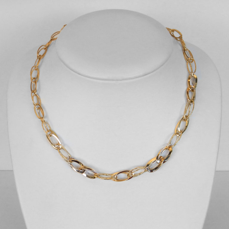 two tone gold oval link necklace
